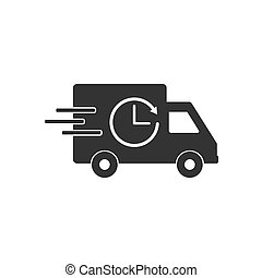 Delivery truck icon. Vector illustration, flat design.
