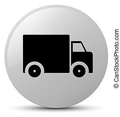 Delivery truck icon white round button