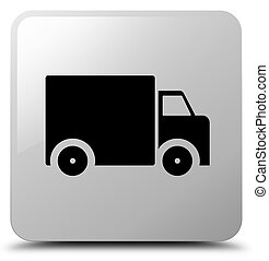 Delivery truck icon white square button