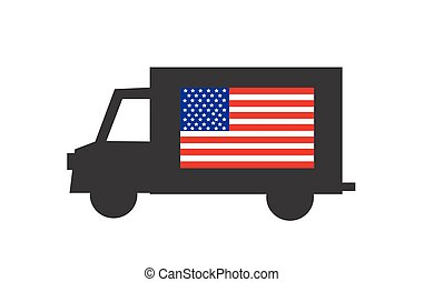 delivery truck icon with american flag