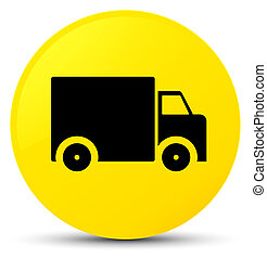 Delivery truck icon yellow round button