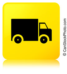 Delivery truck icon yellow square button