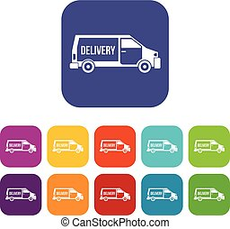 Delivery truck icons set