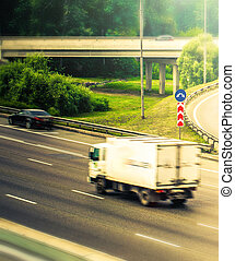 delivery truck in highway