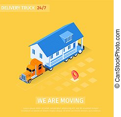 Delivery Truck is Written we are Moving Cartoon. Big Truck ...