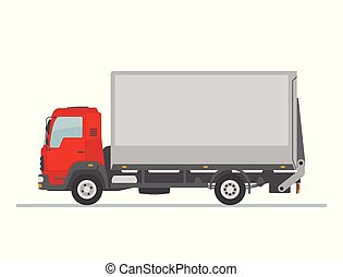 Delivery truck isolated on white background.