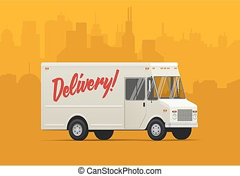 Delivery truck. Isometric styled vector illustration.