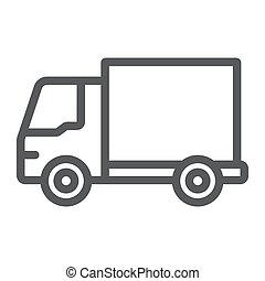 Delivery truck line icon, traffic and vehicle, van sign, vector graphics, a linear pattern on a white background.