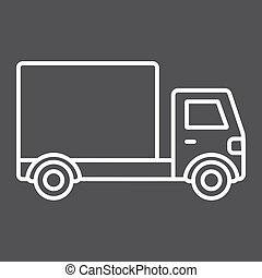 Delivery Truck line icon, transport and vehicle, cargo sign vector graphics, a linear pattern on a black background, eps 10.