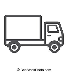 Delivery Truck line icon, transport and vehicle, cargo sign vector graphics, a linear pattern on a white background, eps 10.