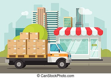Delivery truck loaded with parcel boxes near store vector illustration, concept of shipping packages from shop building, retail courier van on city street and boutique storefront flat cartoon clipart
