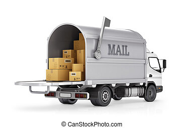 Delivery truck mail. Delivery service (car) isolated on white background