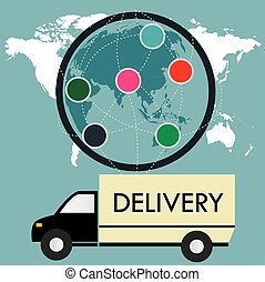 delivery truck on a background map of the world