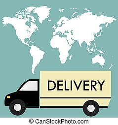 delivery truck on a background map of the world,