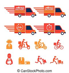 Delivery Truck or Van with Icons Set