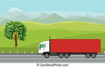 Delivery truck passing by beautiful landscape on the road.