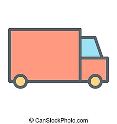 Delivery Truck Pixel Perfect Vector Thin Line Icon 48x48. Simple Minimal Pictogram