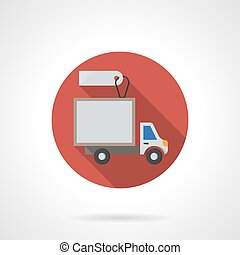 Delivery truck sale round flat color vector icon