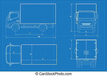 Van template commercial vehicle blueprint drawing vectors delivery truck schematic or van car blueprint vector illustration truck car in outline malvernweather Gallery