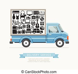 Delivery truck service Flat style. Vector illustrations.