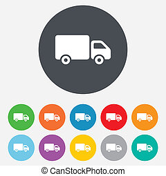 Delivery truck sign icon. Cargo van symbol. Round colourful...