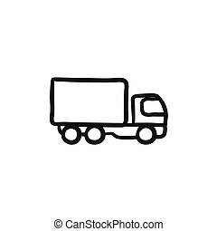 Delivery truck sketch icon.
