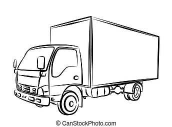 Delivery truck, sketch.
