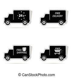 delivery truck sticker vector illustration