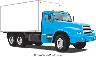 Delivery truck - Vector isolated blue delivery truck on...