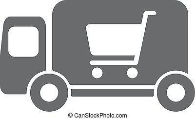 Delivery truck vector icon illustration.