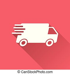 Delivery truck vector illustration. Fast delivery service shipping icon. Simple flat pictogram for business, marketing or mobile app internet concept on red background with long shadow.