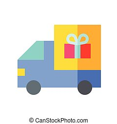 Delivery truck vector illustration, flat style icon
