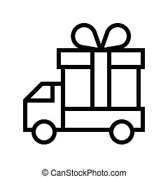 Delivery truck vector illustration, line style icon