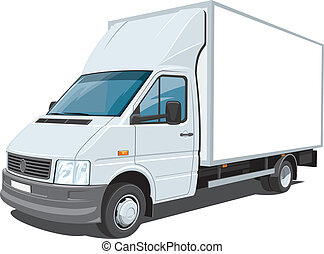 Vector isolated delivery truck on white background, without gradients and transparency EPS8 format