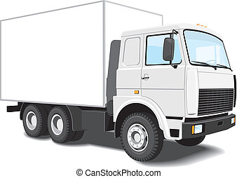 Vector white delivery truck isolated on white background, without gradients.