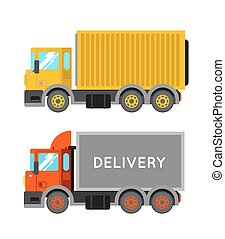 Delivery truck with container. Ton truck vector illustration. Truck shipping.