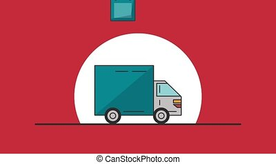 Delivery truck with gift HD animation - Delivery truck with...