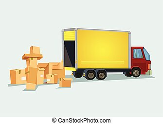 Delivery truck with many box. Vector flat cartoon illustration