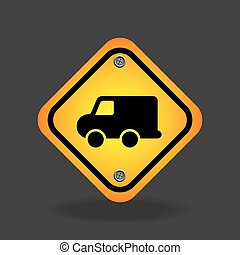 delivery truck yellow road street sign