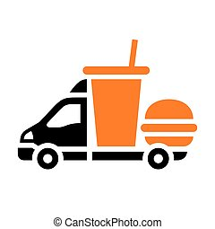Delivery trucks, flat icon