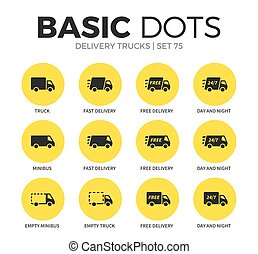 Delivery trucks flat icons vector set