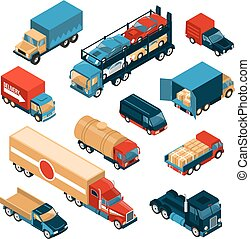 Delivery Trucks Isometric Set
