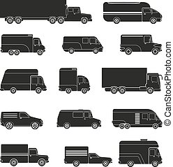 Delivery Trucks Monochrome Set