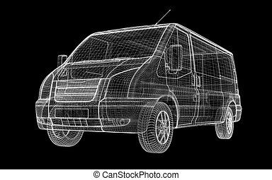 delivery van, body structure, wire model