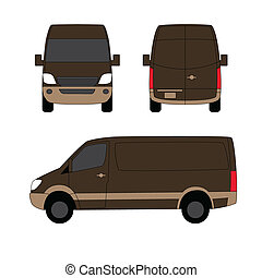 Delivery van brown three sides vector illustration