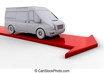 Delivery van on red arrow