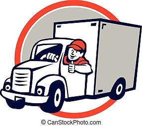 Delivery Van Driver Thumbs Up Circle Cartoon