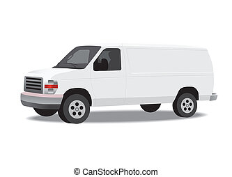 Delivery van isolated on white. Vector illustration.