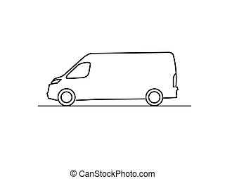 Delivery van line drawing side view isolated on white background