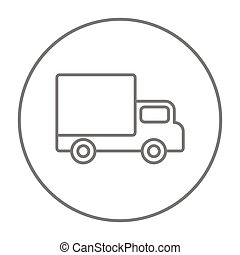 Delivery van line icon.